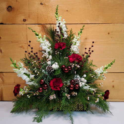 Burgundy Elegance (SCF17C09) by Savilles Country Florist.  Christmas Flower Arrangements, Centerpieces and Plant delivery to Orchard Park, NY and the surrounding area including same day delivery to Hamburg, West Seneca, East Aurora, Blasdell and Buffalo NY