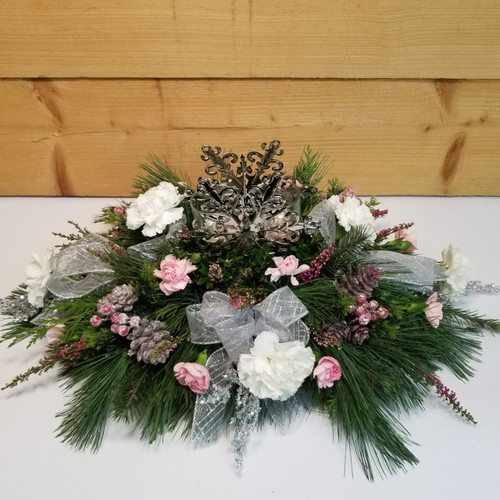 Snowflake Shine (SCF18C12) by Savilles Country Florist.  Christmas Flower Arrangements, Centerpieces and Plant delivery to Orchard Park, NY and the surrounding area including same day delivery to Hamburg, West Seneca, East Aurora, Blasdell and Buffalo NY