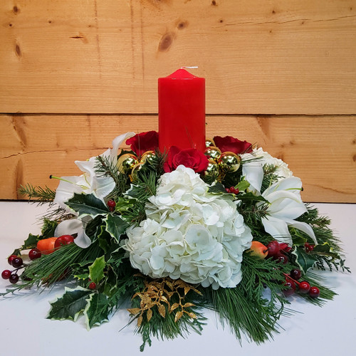 Christmas Traditions (SCF18C14) by Savilles Country Florist.  Christmas Flower Arrangements, Centerpieces and Plant delivery to Orchard Park, NY and the surrounding area including same day delivery to Hamburg, West Seneca, East Aurora, Blasdell and Buffalo NY