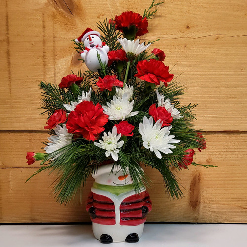 Joyful Snowman (SCF18C15) by Savilles Country Florist.  Christmas Flower Arrangements, Centerpieces and Plant delivery to Orchard Park, NY and the surrounding area including same day delivery to Hamburg, West Seneca, East Aurora, Blasdell and Buffalo NY