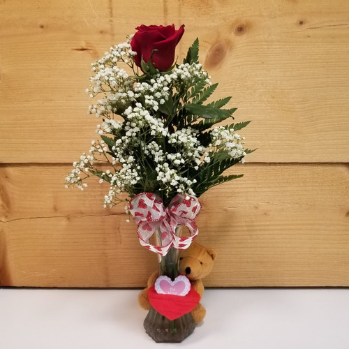 My Love Red Rose Bud Vase (SCF19V01) by Savilles Country Florist.  Flower and Plant delivery to Orchard Park, NY and the surrounding area including same day delivery to Hamburg, West Seneca, East Aurora, Blasdell and Buffalo NY