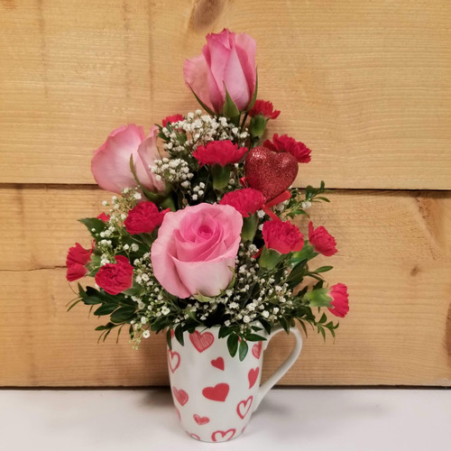 Pink Rose Love Mug (SCF19V04) by Savilles Country Florist.  Flower and Plant delivery to Orchard Park, NY and the surrounding area including same day delivery to Hamburg, West Seneca, East Aurora, Blasdell and Buffalo NY