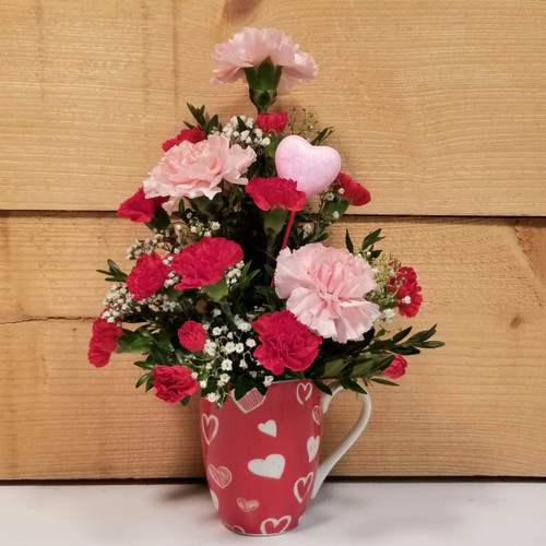Pink Carnation Love Mug (SCF19V06) by Savilles Country Florist.  Flower and Plant delivery to Orchard Park, NY and the surrounding area including same day delivery to Hamburg, West Seneca, East Aurora, Blasdell and Buffalo NY