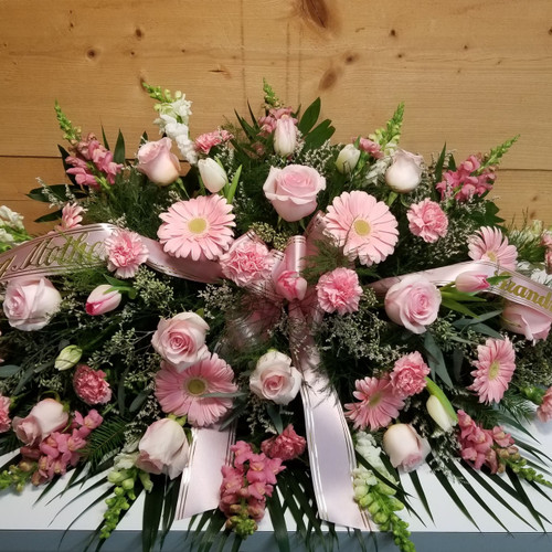 Mixed Pink Casket Spray (SCF19SY10) by Savilles Country Florist.  Flower and Plant delivery to Orchard Park, NY and the surrounding area including same day delivery to Hamburg, West Seneca, East Aurora, Blasdell and Buffalo NY
