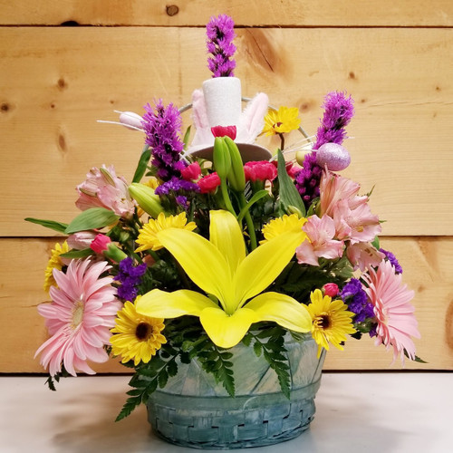 Bunny Trail (SCF19D23) by Savilles Country Florist.  Flower and Plant delivery to Orchard Park, NY and the surrounding area including same day delivery to Hamburg, West Seneca, East Aurora, Blasdell and Buffalo NY