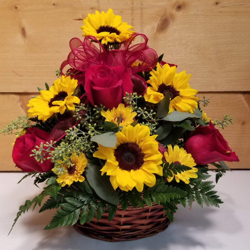 Red Rose & Sunflower Basket (SCF19D60) by Savilles Country Florist.  Flower and Plant delivery to Orchard Park, NY and the surrounding area including same day delivery to Hamburg, West Seneca, East Aurora, Blasdell and Buffalo NY