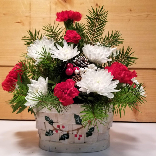 Holly-Day Basket (SCF19C02) by Savilles Country Florist.  Christmas Flower Arrangements, Centerpieces and Plant delivery to Orchard Park, NY and the surrounding area including same day delivery to Hamburg, West Seneca, East Aurora, Blasdell and Buffalo NY