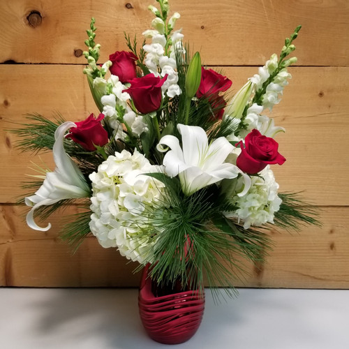 Holiday Magic (SCF19C04) by Savilles Country Florist.  Christmas Flower Arrangements, Centerpieces and Plant delivery to Orchard Park, NY and the surrounding area including same day delivery to Hamburg, West Seneca, East Aurora, Blasdell and Buffalo NY