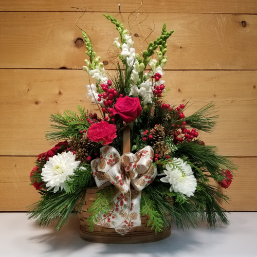 Merry & Bright Basket (SCF19C06) by Savilles Country Florist. Christmas Flower Arrangements, Centerpieces and Plant delivery to Orchard Park, NY and the surrounding area including same day delivery to Hamburg, West Seneca, East Aurora, Blasdell and Buffalo NY