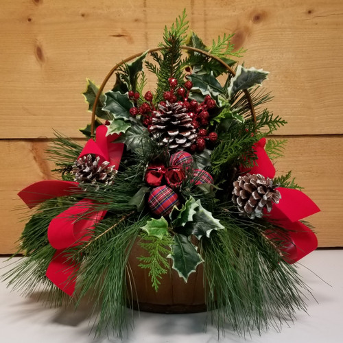 Jingle Bell Basket (SCF19C07) by Savilles Country Florist.  Christmas Flower Arrangements, Centerpieces and Plant delivery to Orchard Park, NY and the surrounding area including same day delivery to Hamburg, West Seneca, East Aurora, Blasdell and Buffalo NY