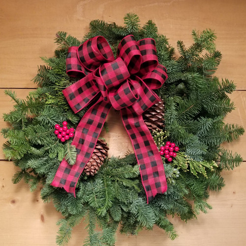 Buffalo Plaid Wreath  (SCF19C09) by Savilles Country Florist.  Christmas Flower Arrangements, Centerpieces and Plant delivery to Orchard Park, NY and the surrounding area including same day delivery to Hamburg, West Seneca, East Aurora, Blasdell and Buffalo NY