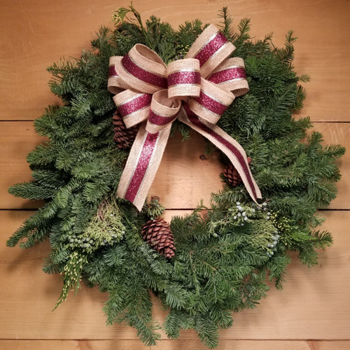 Wreath - Burlap & Burgundy (SCF19C10) by Savilles Country Florist.  Christmas Flower Arrangements, Centerpieces and Plant delivery to Orchard Park, NY and the surrounding area including same day delivery to Hamburg, West Seneca, East Aurora, Blasdell and Buffalo NY