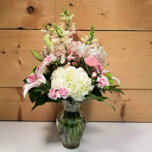 Tender Touch Deluxe Vase (SCF20D17) by Savilles Country Florist.  Flower and Plant delivery to Orchard Park, NY and the surrounding area including same day delivery to Hamburg, West Seneca, East Aurora, Blasdell and Buffalo NY
