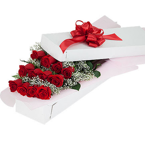 Red Roses Boxed (SCF8001b) by Savilles Country Florist. Flower delivery to Orchard Park, Hamburg, West Seneca, East Aurora, Buffalo, NY and surrounding suburbs.