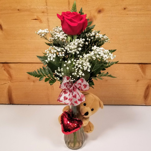 Sequin Love Bud Vase (SCF20V02) by Savilles Country Florist.  Flower and Plant delivery to Orchard Park, NY and the surrounding area including same day delivery to Hamburg, West Seneca, East Aurora, Blasdell and Buffalo NY