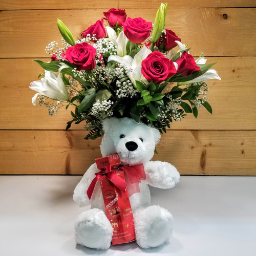 Valentine Bouquet with Bear & Chocolate (SCF20V06) by Savilles Country Florist.  Flower and Plant delivery to Orchard Park, NY and the surrounding area including same day delivery to Hamburg, West Seneca, East Aurora, Blasdell and Buffalo NY