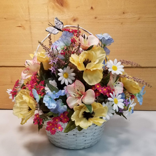 Pick Me Up Silk Flower Basket (SCF20D23)
