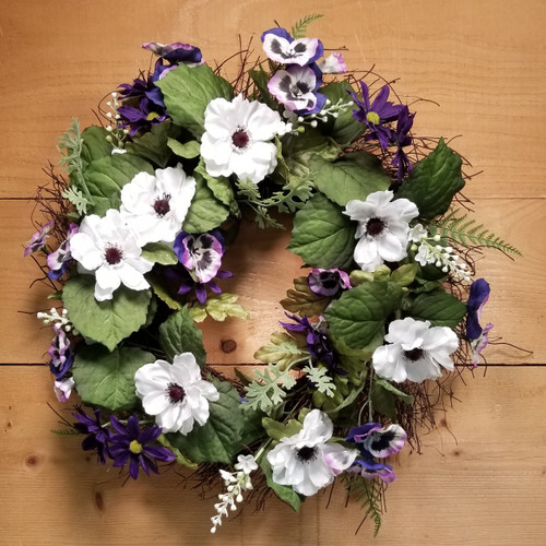 Purple & White Silk Botanical Wreath (SCF20D25)