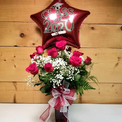 Congrats Grad - Rose & Balloon Special (SCF20D63)