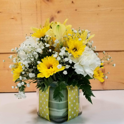Polka Dot Blooms Bouquet - Yellow (SCF7022yel)