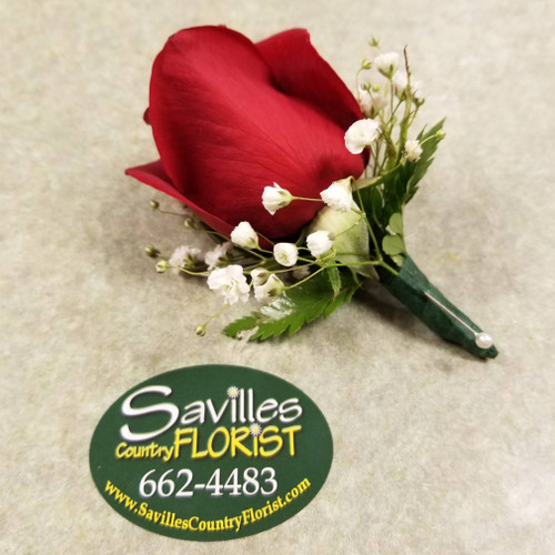 Boutonniere with Red Rose (BOUT2021-RED)