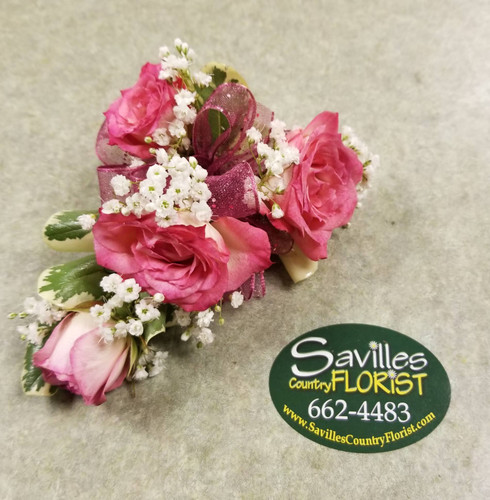 Corsage 4 Variegated Pink Spray Roses (CORS2021-4VPNK)