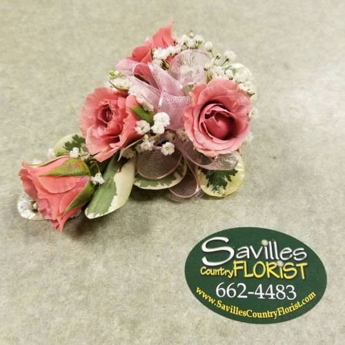 Corsage with 4 Salmon Spray Roses (CORS2021-4SLMN)