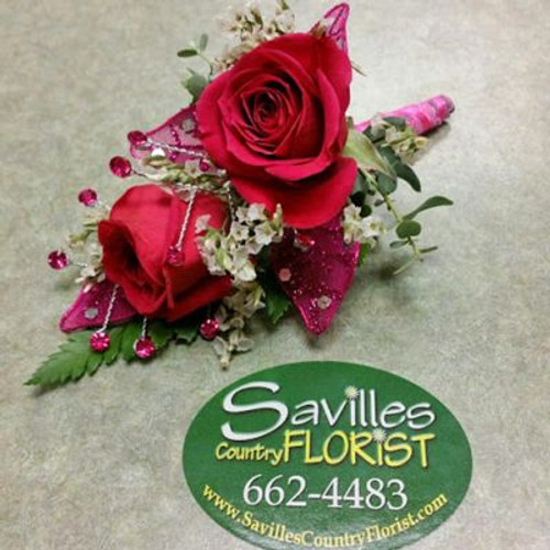 Boutonniere with 2 Hot Pink SH Roses