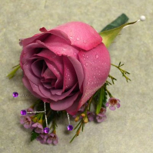 Boutonniere with Lavender Rose and gems
