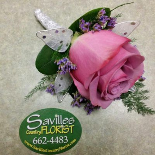 Boutonniere with Lavender Rose White Leaves