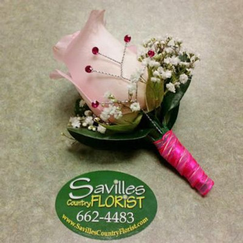 Boutonniere with Lt Pink Rose & Gems