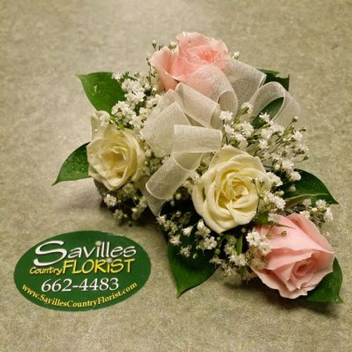 Corsage 2 White 2 Pink Sweetheart Roses