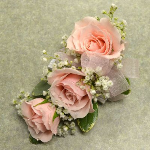 Corsage with 3 Lt Pink Sweetheart Roses