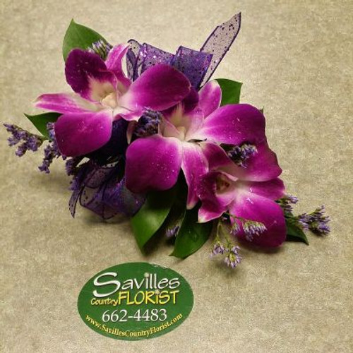 Corsage with 3 Purple Dendrobium Orchids