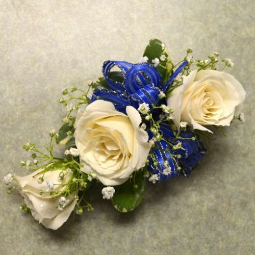 Corsage with 3 White Sweetheart Roses