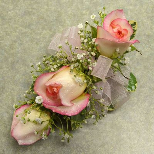 Corsage with 3 White, pink tip Sweetheart Roses
