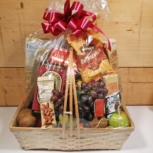 Fruit and Gourmet Basket by Savilles Country Florist. Flower delivery to Orchard Park, Hamburg, West Seneca, East Aurora, Buffalo, NY and surrounding suburbs.