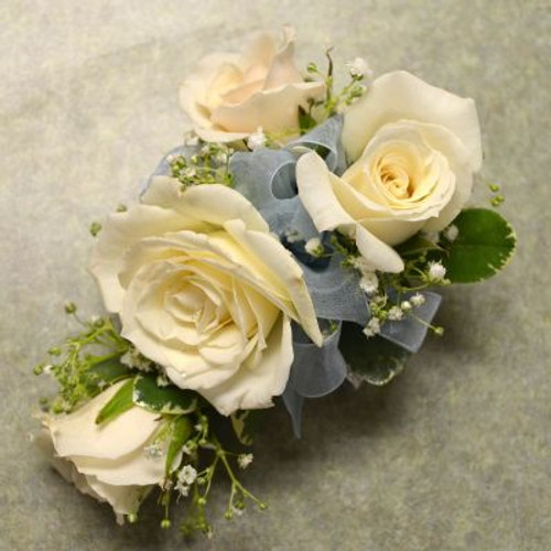Corsage with 4 White Sweetheart Roses-1