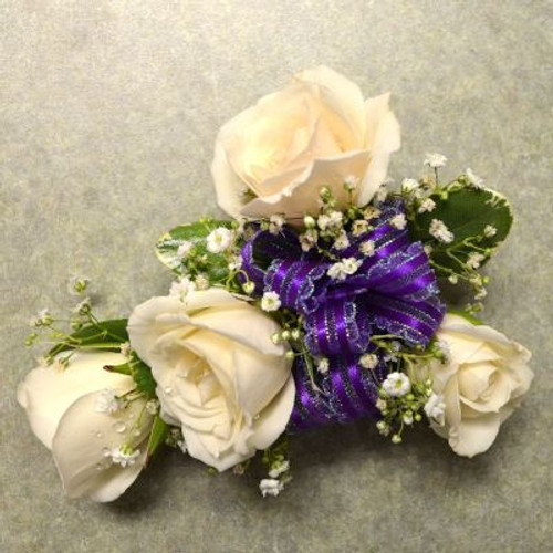 Corsage with 4 White Sweetheart Roses-2