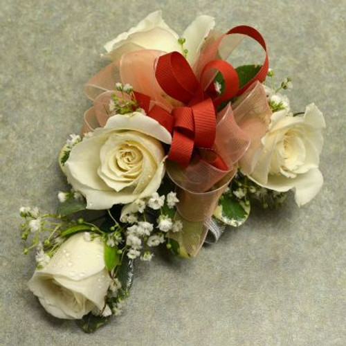 Corsage with 4 White Sweetheart Roses-3