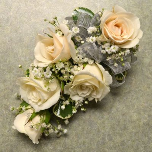 Corsage with 5 White Sweetheart Roses