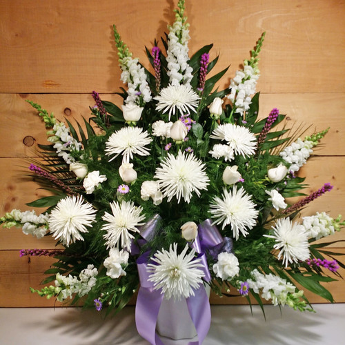 Lavender & White Sympathy Arrangement  by Savilles Country Florist. Flower delivery to Orchard Park, Hamburg, West Seneca, East Aurora, Buffalo, NY and surrounding suburbs.