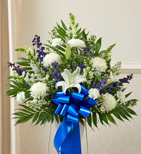 Heartfelt Sympathies Blue & White Arrangement  by Savilles Country Florist. Flower delivery to Orchard Park, Hamburg, West Seneca, East Aurora, Buffalo, NY and surrounding suburbs.