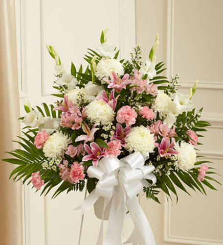 Heartfelt Sympathies Pink & White Arrangement by Savilles Country Florist. Flower delivery to Orchard Park, Hamburg, West Seneca, East Aurora, Buffalo, NY and surrounding suburbs.