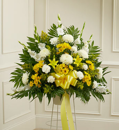 Heartfelt Sympathies Yellow Arrangement by Savilles Country Florist. Flower delivery to Orchard Park, Hamburg, West Seneca, East Aurora, Buffalo, NY and surrounding suburbs.