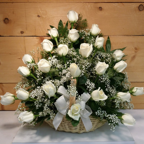 White Rose Fireside Basket (91219) by Savilles Country Florist.  Flower and Plant delivery to Orchard Park, NY and the surrounding area including same day delivery to Hamburg, West Seneca, East Aurora, Blasdell and Buffalo NY