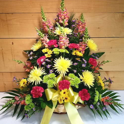 Bright Fireside Basket by Savilles Country Florist. Flower delivery to Orchard Park, Hamburg, West Seneca, East Aurora, Buffalo, NY and surrounding suburbs.