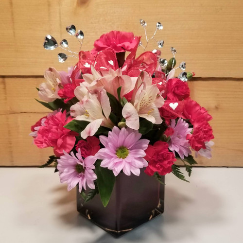 Blooming Hearts (SCF17V07) by Savilles Country Florist.  Flower and Plant delivery to Orchard Park, NY and the surrounding area including same day delivery to Hamburg, West Seneca, East Aurora, Blasdell