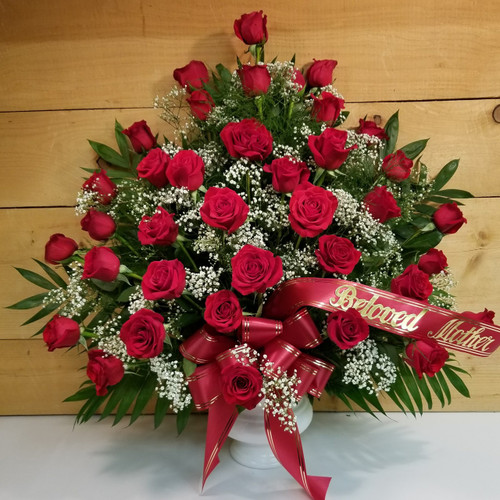 Red Rose Sympathy Arrangement (SCF18SY111) by Savilles Country Florist.  Flower and Plant delivery to Orchard Park, NY and the surrounding area including same day delivery to Hamburg, West Seneca, East Aurora, Blasdell and Buffalo NY