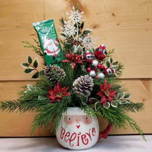 Believe in Santa (SCF18C07) by Savilles Country Florist.  Christmas Flower Arrangements, Centerpieces and Plant delivery to Orchard Park, NY and the surrounding area including same day delivery to Hamburg, West Seneca, East Aurora, Blasdell and Buffalo NY